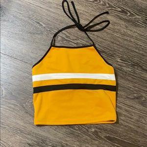 Yellow striped halter crop top NWOT